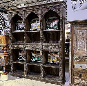 Arched Carved Wood Bookshelf