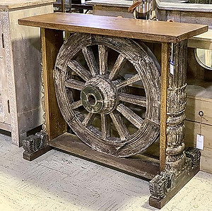 Reclaimed Wheel Console Table