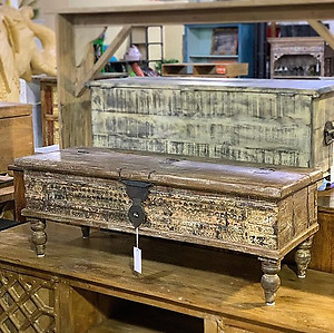 Carved Wood Storage Trunk