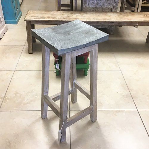 Zinc and Wood Stool