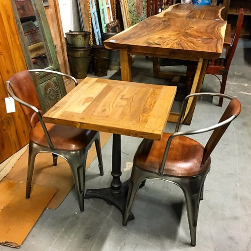 Teak and Iron Bistro Table