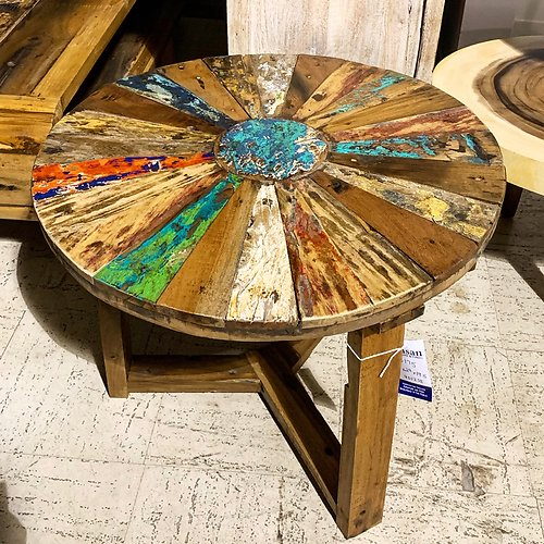 SOLD! Boatwood Round Side Table
