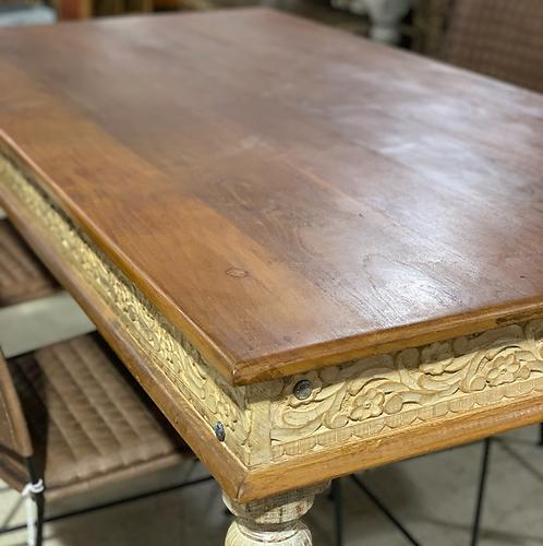 Carved Teak Top Dining Table