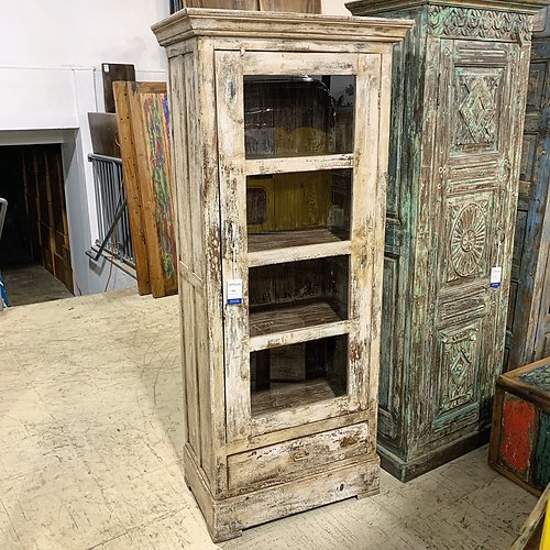Sold Glass and Wood Single Door Cabinet