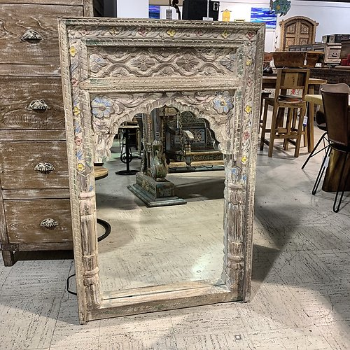 Sold Hand carved arched mirror