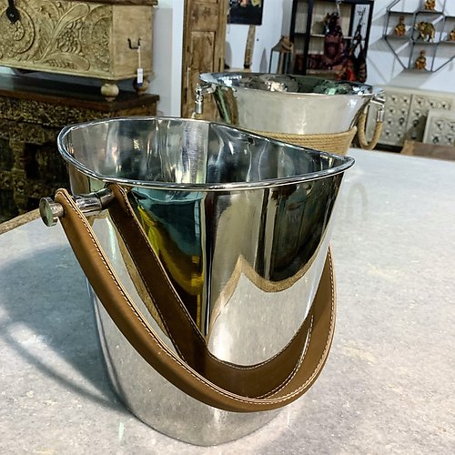 Stainless Steel and Leather Wine Cooler