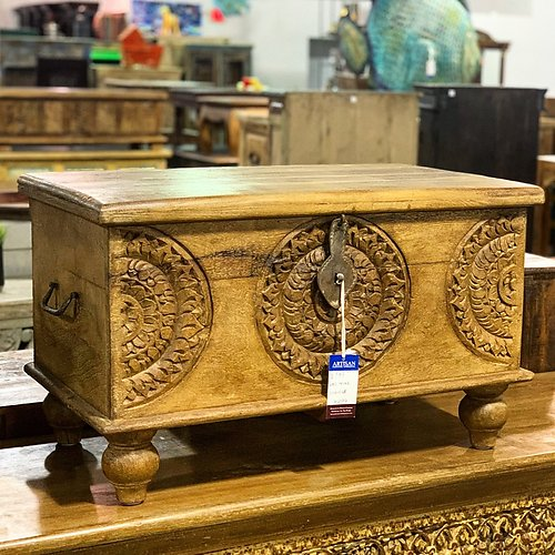 Sold! Carved Wood Storage Trunk