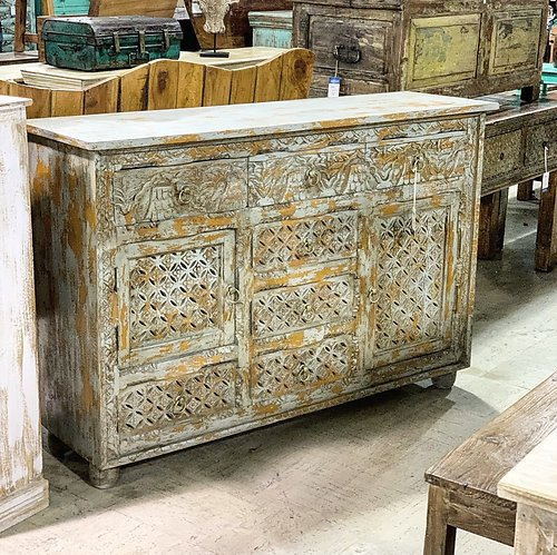 Painted Carved Wood Sideboard