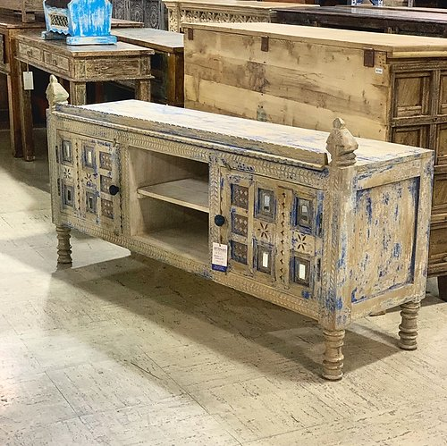 SOLD! Distressed Mirrored Wood Media Cabinet