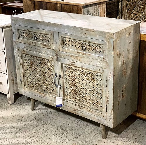 SOLD! Carved Wood Gray Sideboard