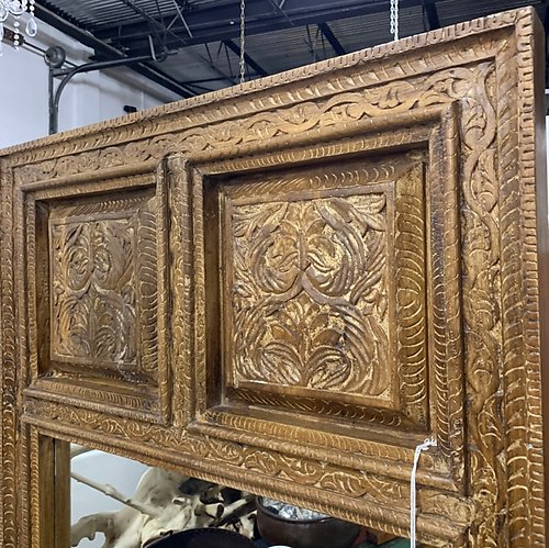Carved Wood Standing Mirror