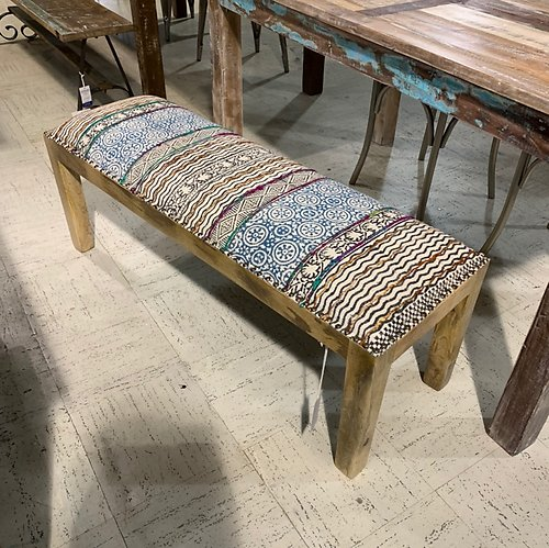 Kilim and Wooden Backless Bench