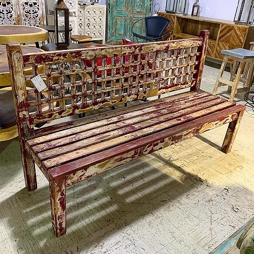 SOLD! Distressed Painted Wood Bench