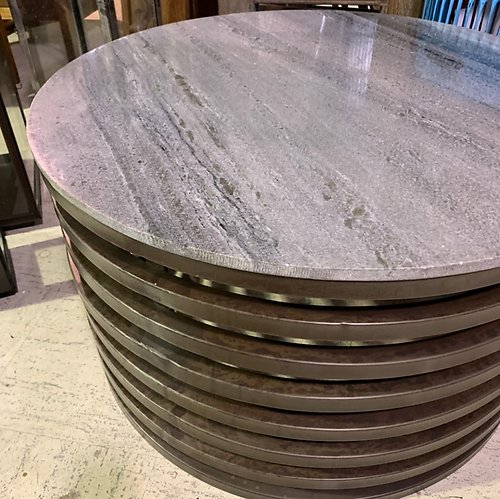 Metal and Stone Coffee Table