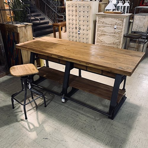 Industrial Teak Wood Counter Table