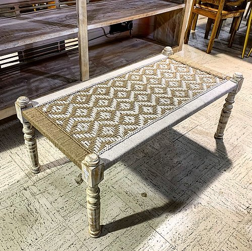 Sold! Woven and Wood Bench