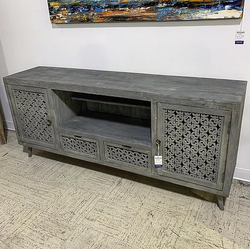 SOLD! Gray Wood Media Cabinet