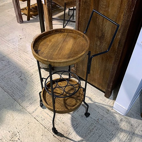 SOLD! Industrial Side Table Wine Cart
