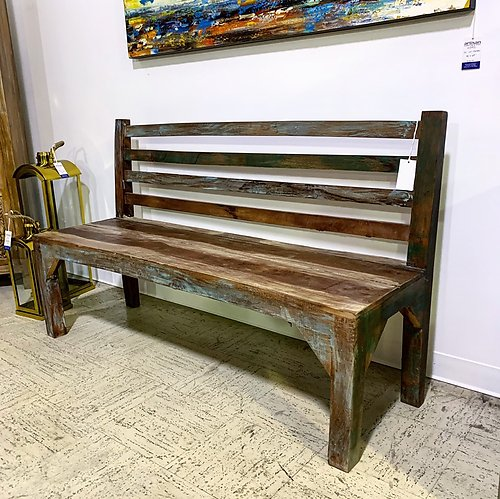 Distressed Wood Bench
