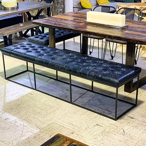 SOLD! Industrial Leather Bench