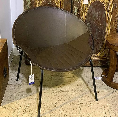 Leather and Metal Papasan Chair